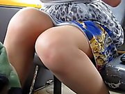 Flashing stockings in a bus