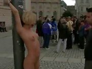 Blonde bound and stripped in public