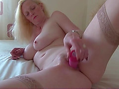 Beautiful body blonde milf fucks pink toy