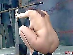 Restrained hotty made to submit to boy demands