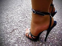 Black Patent Domina Sandals 5,5inch Heels