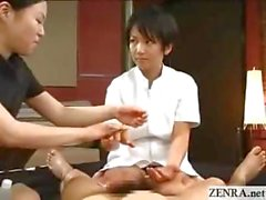 Japanese trainee taught art of perfect CFNM handjob