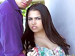 Curvy latin mom and teen share a dick