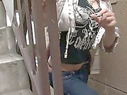 She gives a sexy bj in crotchless jeans