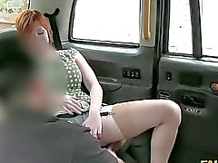 Pervert driver fucking with sexy redhead