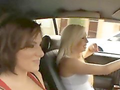Two sexy big boobs babes banged in car garage