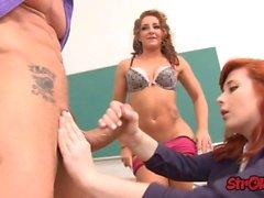 teacher shows star pupil how to handjob clip
