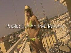 Public Beach Balcony - Blonde Babe rubs her Pussy