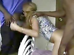 Sexy blonde wife interracial cuckold blowjob