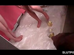 Lesbo teen sex slaves exchanging piss shots