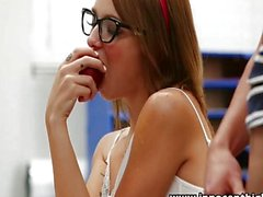 Cute teen rides cock in the classroom
