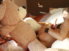 Lesbian 3some with spanking and 2 teddy bears and cumshot