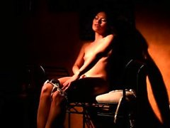 Petite thai squirts on a chair