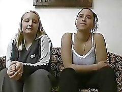 Shy German girls in an amateur scene