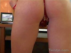 turned on busty secretary gets naked and masturbates in office