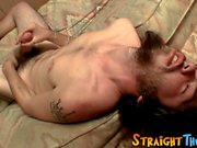 Straight young man jacks off hairy rock solid dick