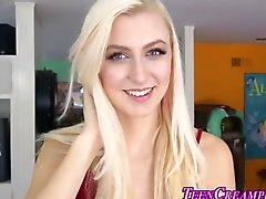 Blonde teen gets creampie