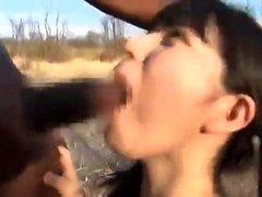 Interracial outdoor fuck with facial after blowjob