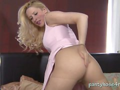 Hot British blonde teases in pantyhose