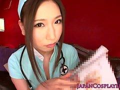 Cosplay Tsutsuru Nurse titfucking and getting cumontits POV