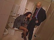 Sexy whore serving dick in a toilet