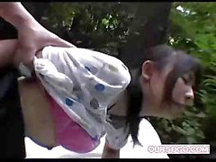 Japanese Aokan Mania with hairy twat is so glad to be fucked outdoors