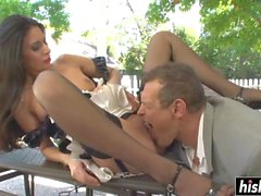 Sexy maid pleases a stiff shaft