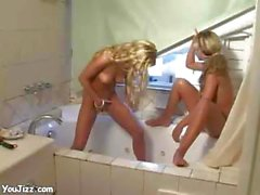 Babe Kylie And Her Lesbian Friend Masturbate Pissing On Bathroom In Photoset