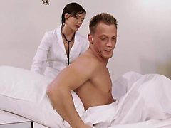Sexy brunette nurse in stockings decided to fuck her