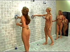 Hot sorority girls with perky tits fool around with each other's cunts in shower