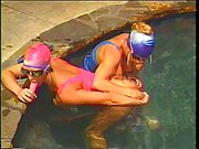 Voluptuous lesbians do hot pool sex action