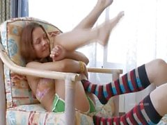 Unlimited lesbian passion in stocking