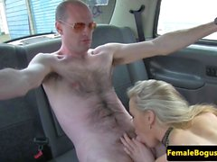 Femdom taxidriver ass eaten in her cab