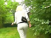 Glam clothed outdoor sex
