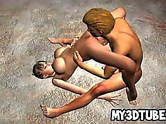 Фотографий грудастая 3D пупсик получения ей киску лизнул и трахавший