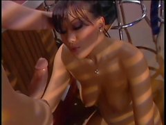 Avena Lee decides public sex is the best and sucks dude's cock in diner