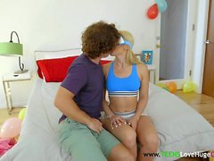 Blindfolded teen babe banged in threeway