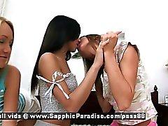 Von Aly und die von Irie analogen Irene Amateur lesbische Mädchen küssen und masturbieren