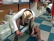 Nasty blonde slut gets horny playing