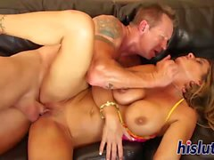 Fit and busty cougar gets fucked hard