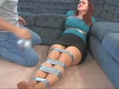Julie ducttaped!