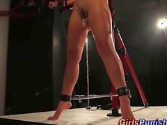 Bdsm pussy weights and a kinky bondage session