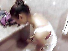 Asian slut banged in public garage