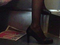 Stunning legs in sneakers high heel shoes in practice 6