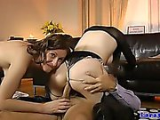 English milf sharing dick in euro threesome