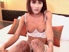 Asian ladyboy in stockings jerking