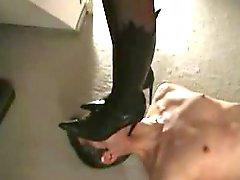 heels under throat trample