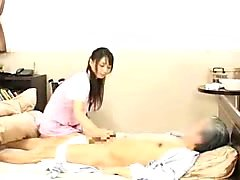 Lustful Asian wife gets on top of a hard dick and rides it