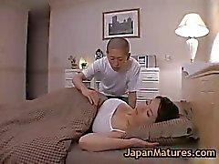 Mature bigtit miki sato masturbating on bed 2 by japanmatures