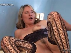 Blonde slut Lucie fucked in her sweet hairy pussy